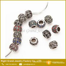 Vente chaude Style européen breloque en cristal métal perles bijoux
