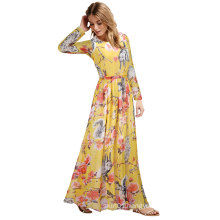 European Women′s Summer Sexy Printed Maxi Dress