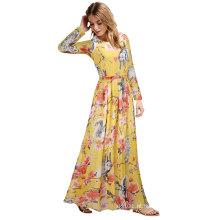 Verão europeu feminino sexy impresso vestido maxi