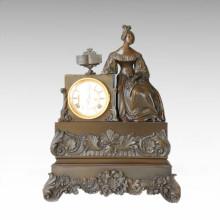 Reloj Estatua Senhora Libro Bell Bronce Escultura Tpc-022
