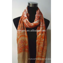 100% Rayon Print Scarf with Fringe