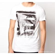 Водорастворимая Печать Белый Шею Лето Пользовательские Оптовая Продажа Хлопок Мужчины T Рубашка
