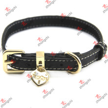 Real Black Leather Double Sewing Design Cats Collars (PC15121412)