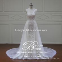 уникальный кружева аппликация одно плечо платье, пол-длина платье-линии свадебное платье