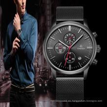 Reloj de pulsera de acero inoxidable resistente al agua deporte moda cuarzo hombres 72188