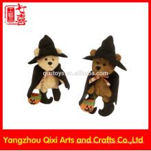 Halloween pelúcia brinquedo ursinho de pelúcia bruxa com chapéu de bruxa e abóbora luz