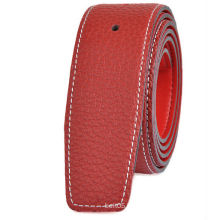 Men's lichi pattern leather strap red color