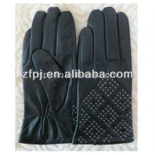 2016 guantes de piel de oveja etíope señoras negro para el frío