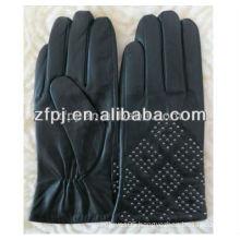 2016 ethiopian sheepskin ladies black gloves for the cold