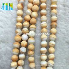 TB004 XULIN Comercio al por mayor 6mm Natural Lisa Faceted Multicolor Yellow Blood Sea Shell granos flojos de la piedra preciosa