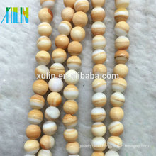 TB004 XULIN Wholesale 6mm Natural Smooth Faceted Multicolor Yellow Blood Sea Shell Loose Gemstone Beads