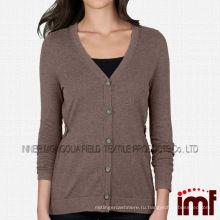 Классические футболки с длинными рукавами подходят к 100% кашемировым женским кардиганам с закрытием пуговиц