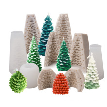 food grade high quality baking tool cake mould pine cone christmas tree silicone mold for candle making