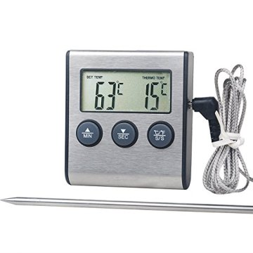 Stainless Steel Probe Large LCD Digital Cooking Thermometer