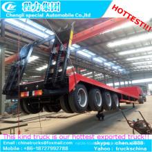 Maschine Semi Truck Trailer 4-Achser Extentable Low Bed Trailer