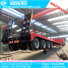 Machine Semi Truck Trailer 4 Axle Extentable Low Bed Trailer