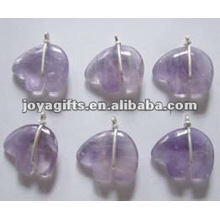 Amethyst Gemstone Stone Bear Pendants with wire wraped
