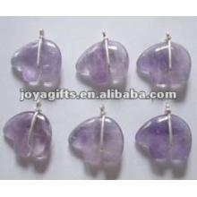 Amethyst Gemstone Stone Bear Pendants with wire wraped