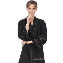 soft quality polyester islamic clothing dubai open black lace women dress abaya