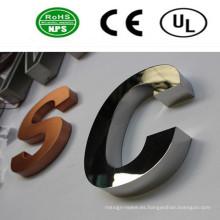 Letreros de letras de acero inoxidable pulido
