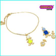 2016 Mode Großhandel reizender Junge und Mädchen Charme Gold Armband Charm