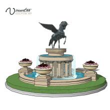 2018 новый дизайн современная напольная известняк фонтан для сада