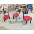 American Cafe Project Tomato Red Leder Gepolsterte Holzstühle