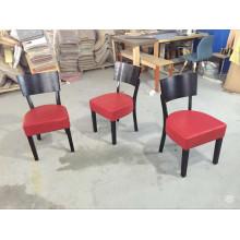 American Cafe Project Tomato Red Leather Cadeiras de madeira acolchoada
