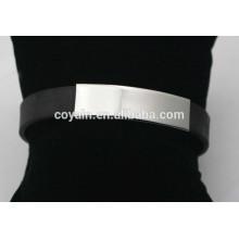 Vente en gros de bracelets en acier inoxydable noir 316L en silicone