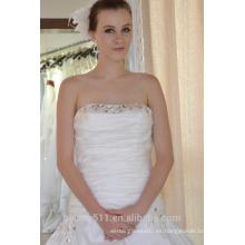 EN STOCK Off-The-Hombro vestido de novia sin mangas tribunal tren plisados vestidos de novia SW90