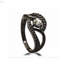 Anel chave dos ornamento de prata pretos elegantes das senhoras da jóia para a senhora