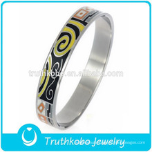 Unique Epoxy Jewelry Silver Width Bracelet Enamel Women Fashion 316 Stainless Steel Wedding Bangle