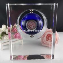 2017 vente chaude petit pas cher cristal horloge de bureau