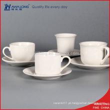 Todo barato branco cerâmica café xícara porcelana personalizada chá xícara e Sausers