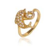 Xuping moda en forma de delfín 14k oro plateado anillo con piedra cz