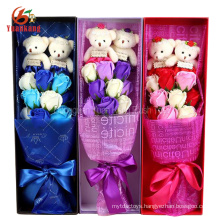 ICTI Wholesale Nice Wedding Teddy Bear Bouquet Plush Flower bouquet Toy For Valentine's Day