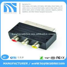 RGB Scart Masculino para 3 RCA AV Fêmea Phono AV Adapter para Xbox 360 PS3 TV DVD