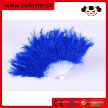 Fan de plumes de couleur à la main OEM de haute qualité