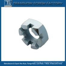 M4-M72 de acero al carbono galvanizado DIN935 tuerca ranurada hexagonal