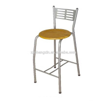 Steel Pipe Bar Chair, Metal Backrest Bar Chair Wooden Plate for Sale