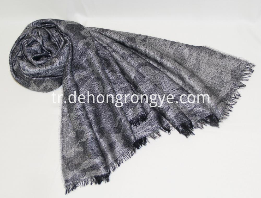 Gray Worsted Jacquard Camouflage Cape