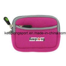 Pink Neoprene Case with Zipper Closed for Phone or Wallet