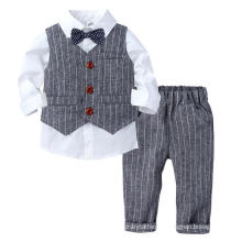 3PCS/Set Kid Boys Long Sleeve Shirt Waistcoat Trousers Gentleman Bow Tie Set Children′s Birthday Party Dress Children′s Wear