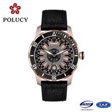Hot Sale Genuine Leather Rose Gold Casual Watches for Men