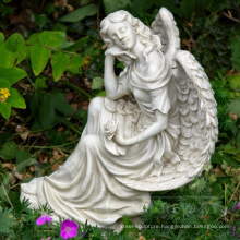 Western style large outdoor decoration hand carved marble garden statues of angels