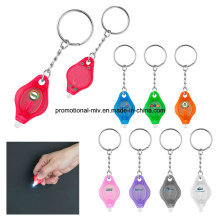 Keychains plásticos da forma nova relativa à promoção com lanterna elétrica do diodo emissor de luz