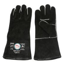 Guantes de barbacoa resistentes al calor negro guantes de soldadura de seguridad de mano con ce