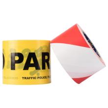 Impressão colorida vermelha branca Segurança Perigo Sinal de advertência Fita plástica de advertência de barreira