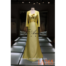 1A765 bright yellow formal satin evening dress floor length womens suit 2016 new design