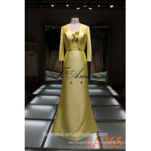 1A765 vestido amarelo brilhante de cetim formal vestido de noiva comprimento vestido para mulheres 2016 novo design